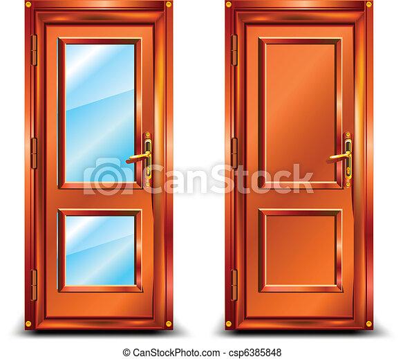 Vector de puerta cerrado de madera y vidrio cl sico for Disenos de puertas en madera y vidrio