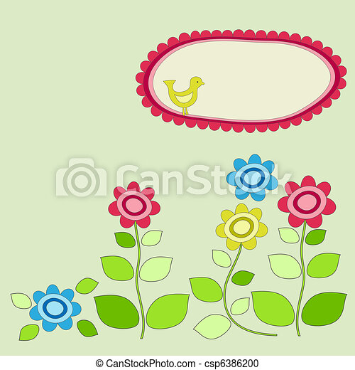 Bird frame with garden flowers. - csp6386200