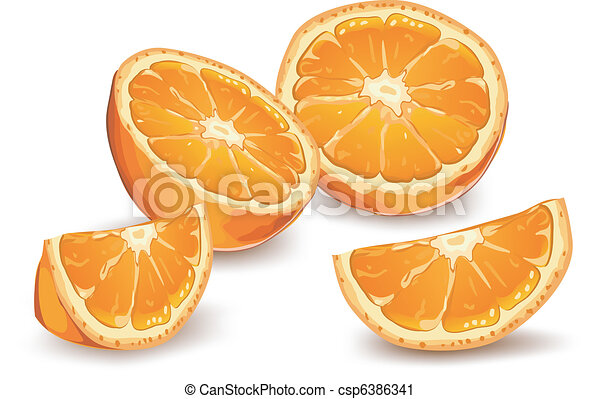 Vector Clip Art Of Orange Whole And Half Orange On White