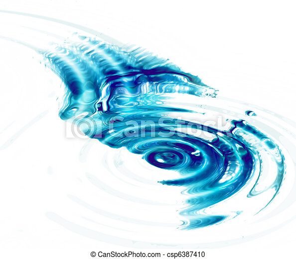 Crystal clear water ripples on white background - csp6387410