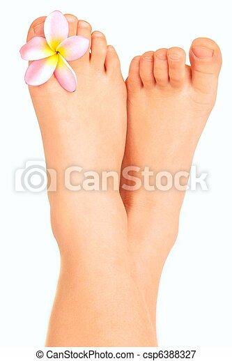 Child bare little feet relaxing - csp6388327