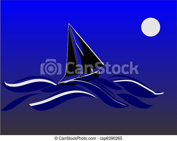 Sailing once in a blue moon.. - csp6390265