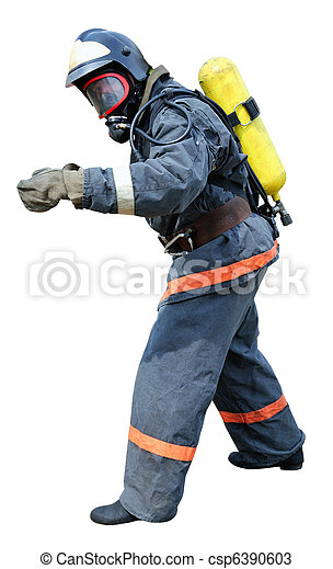 Fireman - Rescue in breathing apparatus  - csp6390603