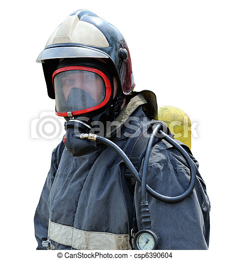Portrait of a firefighter in breathing apparatus - csp6390604