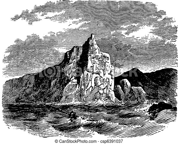 Cape Horn in Chile vintage engraving - csp6391037