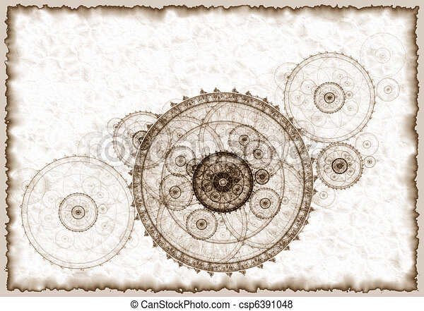 Ancient project of a mechanism, grunge - csp6391048