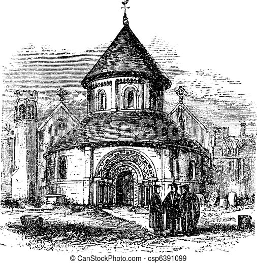Church of the Holy Sepulchre, Cambridge, United Kingdom, vintage engraving. - csp6391099