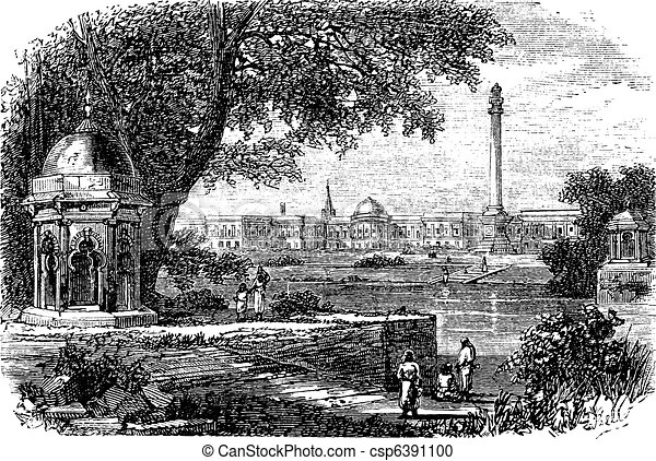 Government House , Ochterlony Monument, Calcutta, India, vintage engraving. - csp6391100