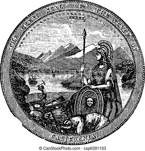 California , Seal, vintage engraving. - csp6391103