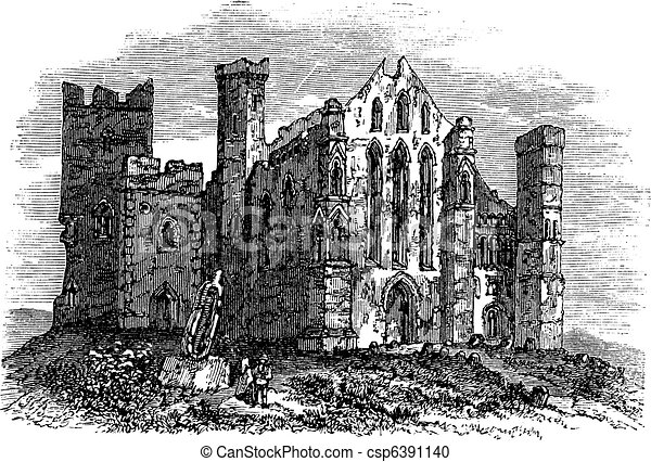 Rock of Cashel or Cashel of the Kings, Ireland vintage engraving - csp6391140