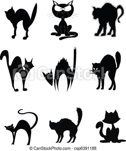 Vector de gatos - Serie, de, negro, gatos, en, vario ...