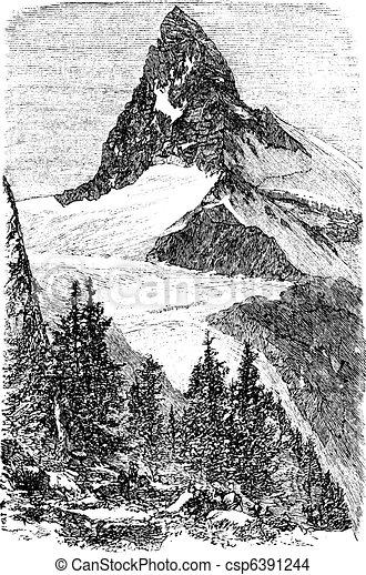 The Matterhorn or Monte cervino. Zermatt, Switzerland vintage engraving - csp6391244