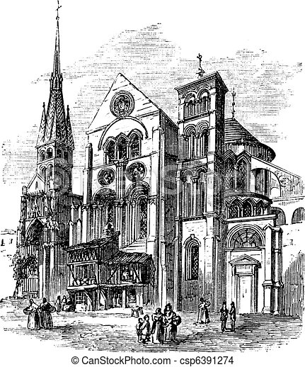 Notre-Dame-en-Vaux church, Chalons-en-Champagne, France vintage engraving - csp6391274