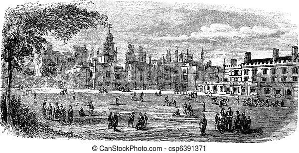 Carthusian Monastery vintage engrav - csp6391371