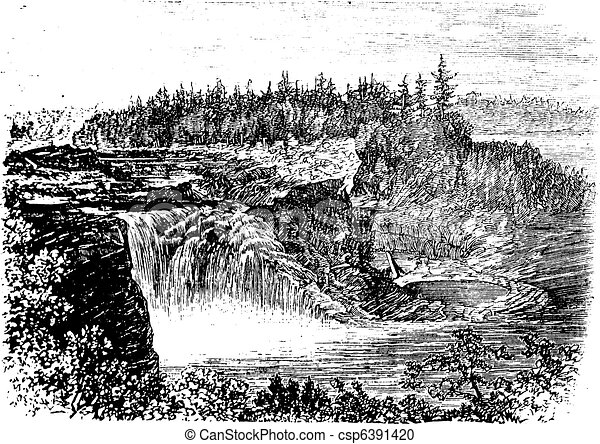 Chaudiere river Falls,in Quebec, Canada vintage engraving - csp6391420
