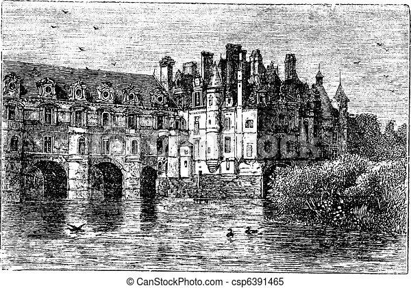 Chenonceau Castle vintage engraving - csp6391465