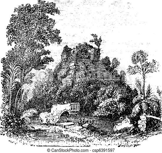 Chichen Itza Mexico Drawing The Castillo at Chichen Itza
