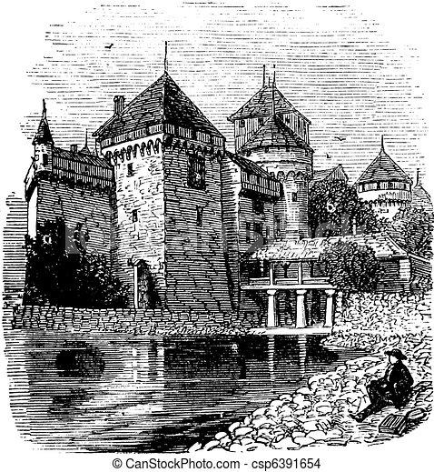 Chillon Castle or Chateau de Chillon in Veytaux, Switzerland, during the 1890s, vintage engraving - csp6391654