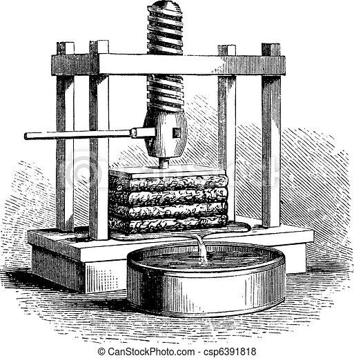 Æblemost, presse, Vinhøst, Gravering - csp6391818