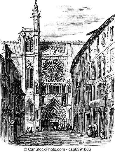 Clermont-Ferrand Cathedral, in Auvergne, France, vintage engraving - csp6391886