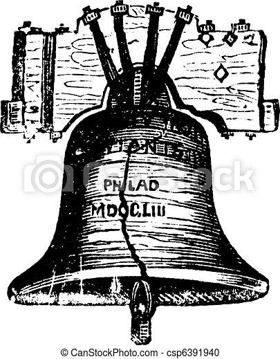 Liberty Bell, in Philadelphia, Pennsylvania, USA, vintage engraving - csp6391940