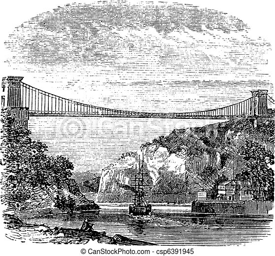 Clifton Suspension Bridge, in Clifton, Bristol to Leigh Woods, North Somerset, England, vintage engraving - csp6391945