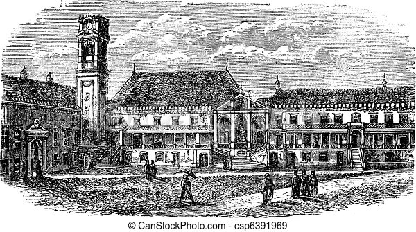 University of Coimbra, in Coimbra, Portugal, vintage engraving - csp6391969