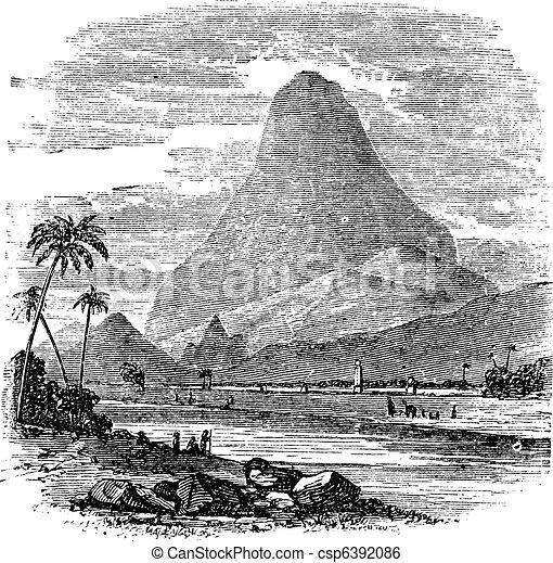 Comorin Peak in Kanyakumari, Tamil Nadu, India, vintage engraving - csp6392086