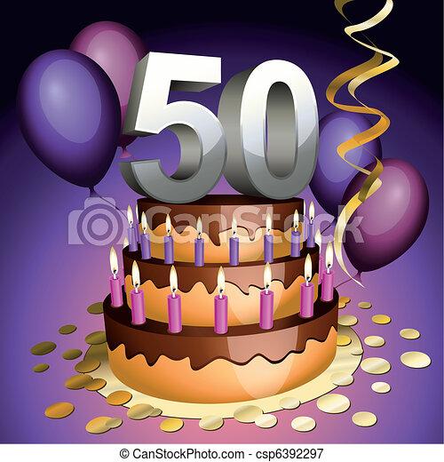 Fiftieth anniversary cake - csp6392297