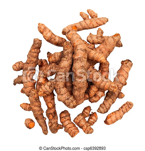 Turmeric Roots in a Pile Isolated - csp6392893