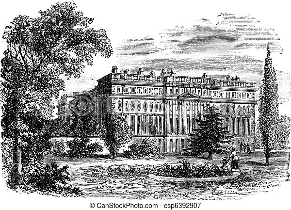 Hampton Court Palace, London, England vintage engraving - csp6392907