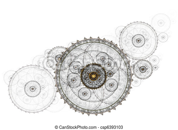 Ancient mechanism, metallic clockwork - csp6393103