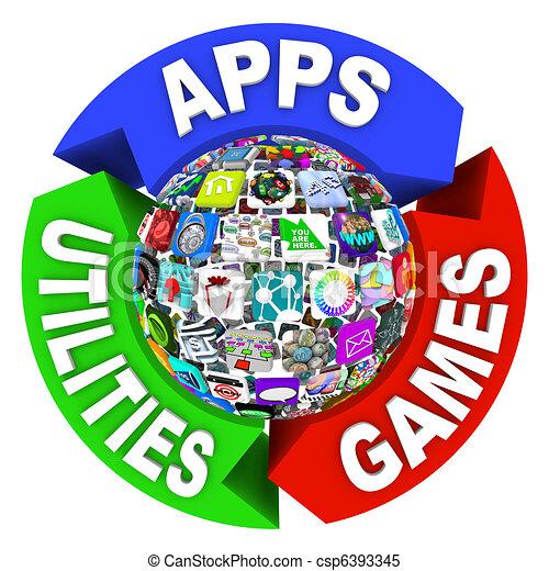 Sphere of Apps in Flowchart Diagram - csp6393345