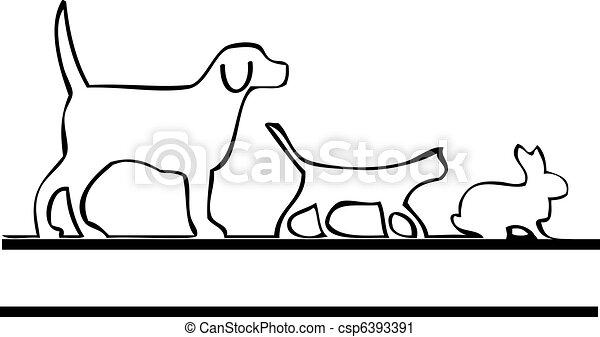 Pets walking logo - csp6393391
