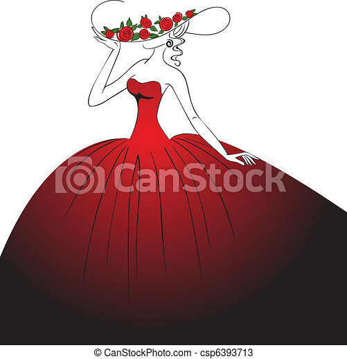 Lady in red dress - csp6393713