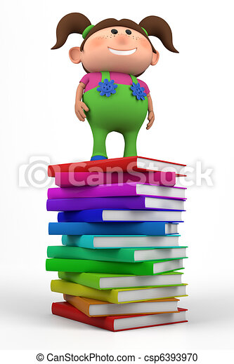 girl standing on a stack of books - csp6393970