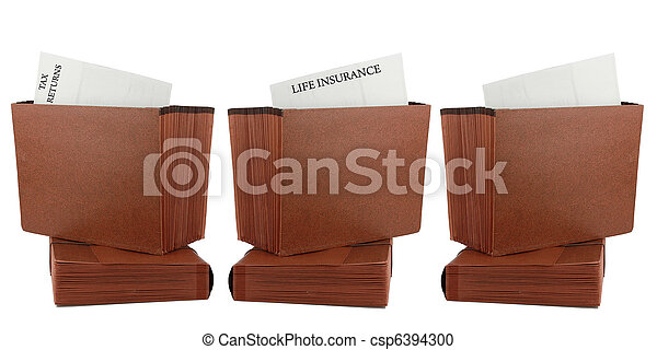 Files Taxes Life Insurance Isolated - csp6394300