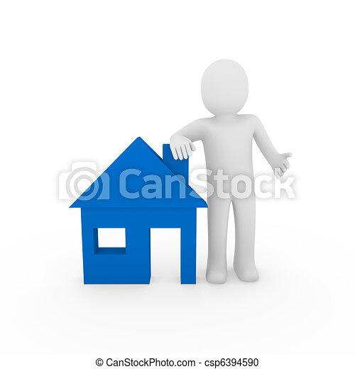 3d man house blue - csp6394590