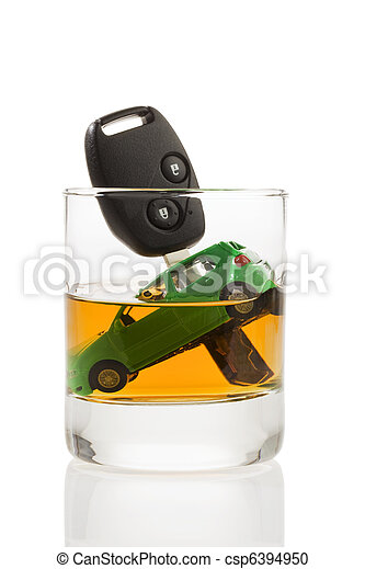 Car keys and glass with alcohol - csp6394950
