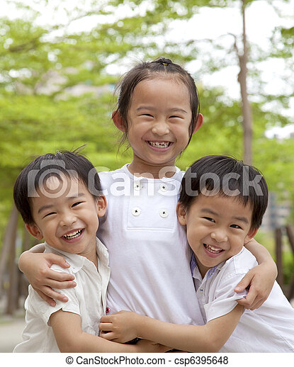 happy asian children - csp6395648