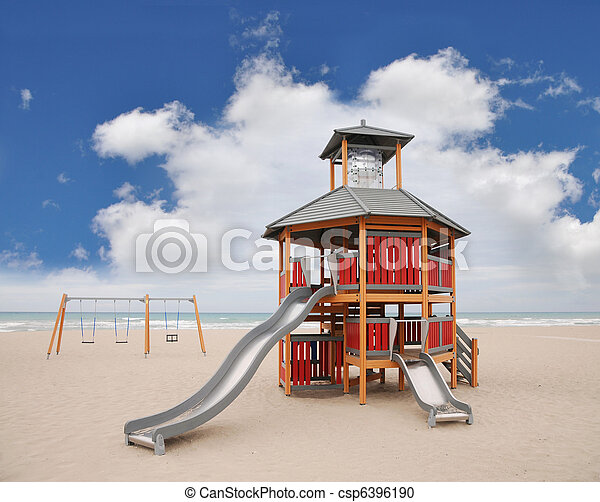 Playground Slide Swings Beach - csp6396190