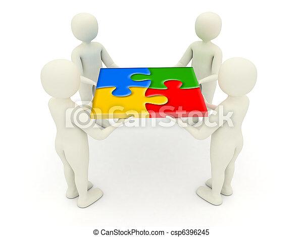 3d men holding assembled jigsaw puzzle pieces - csp6396245