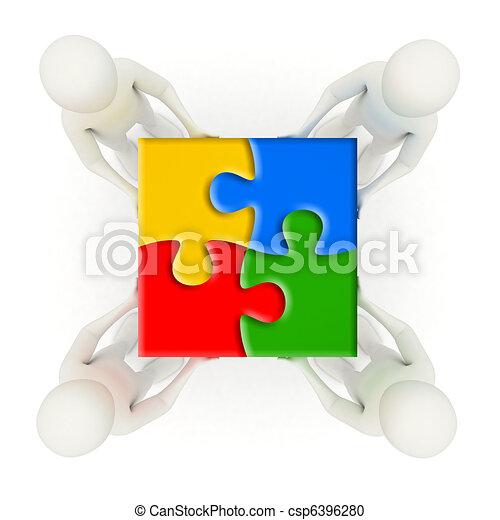 3d men holding assembled jigsaw puzzle pieces - csp6396280