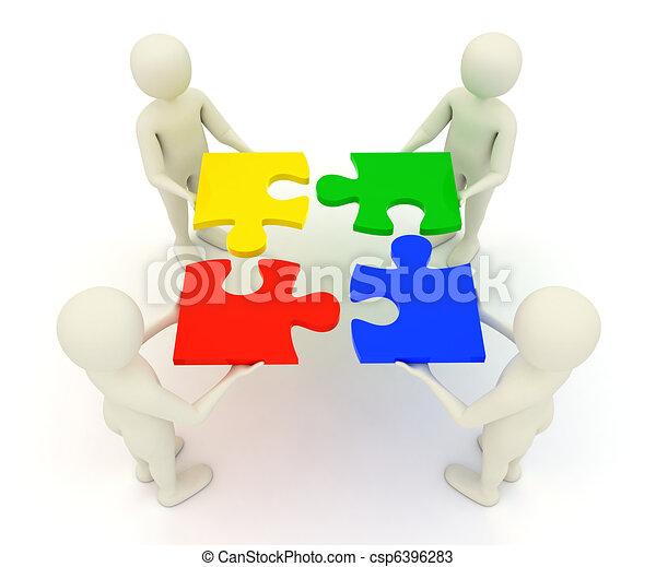 3d men holding assembled jigsaw puzzle pieces - csp6396283