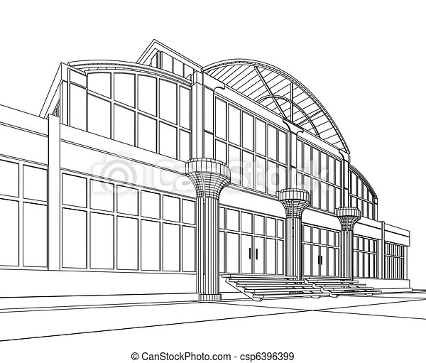 wireframe of office building - csp6396399