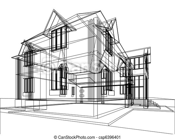 Clipart of Abstract architectural construction - Abstract sketch ...