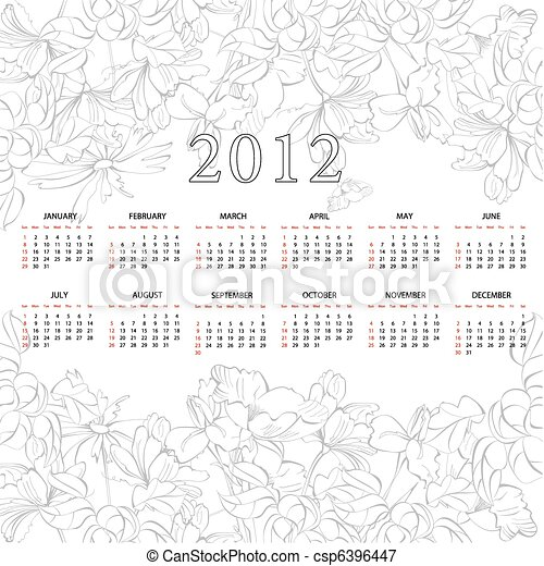 template for calendar 2012 with flowers - csp6396447