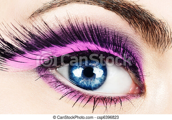 Macro of eye with fake eyelashes. - csp6396823