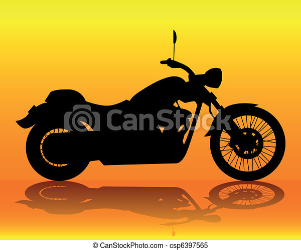 silhouette of an old motorcycle - csp6397565