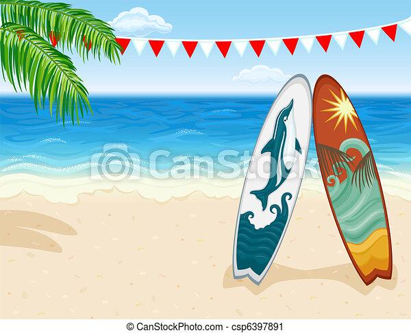 Surf at tropical beach - csp6397891